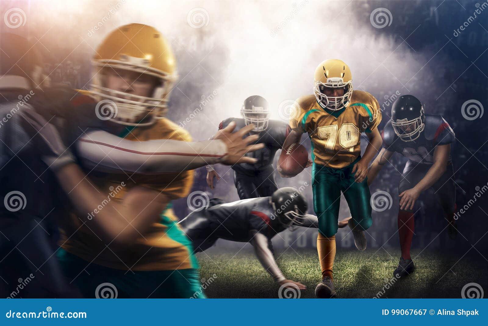 Action brutale du football sur le stade de sport 3d joueurs mûrs avec la boule