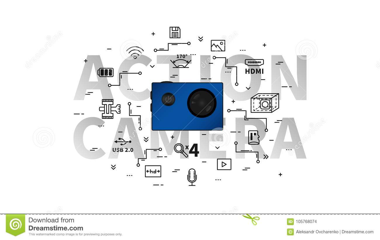 Action Camera Vector Illustration Stock Of Circuit Diagram Video Portable For Extreme Sport With Items Line Art Concept