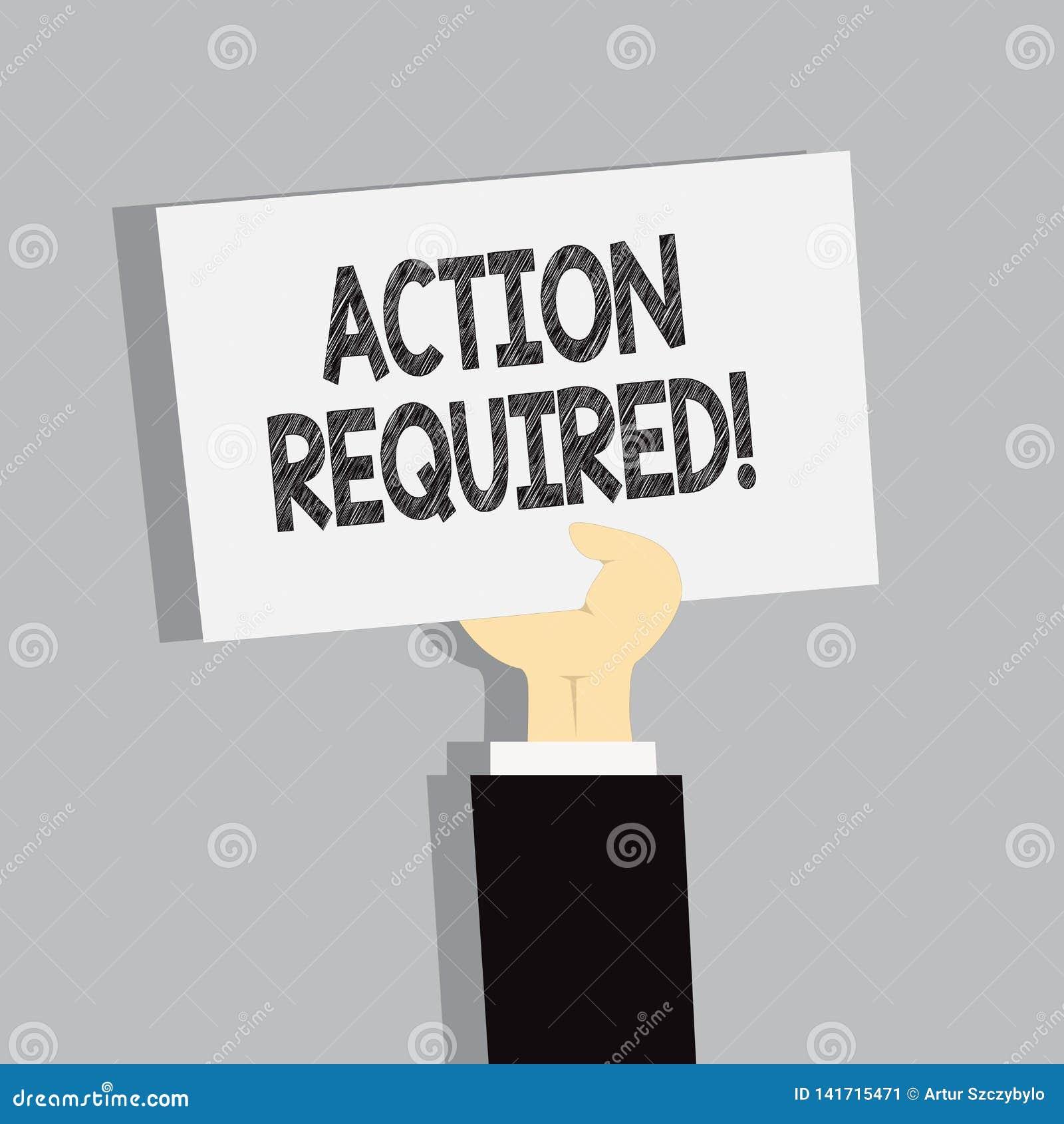 Action des textes d écriture de Word requise Concept d affaires pour la tâche importante rapide immédiate nécessaire d acte impor