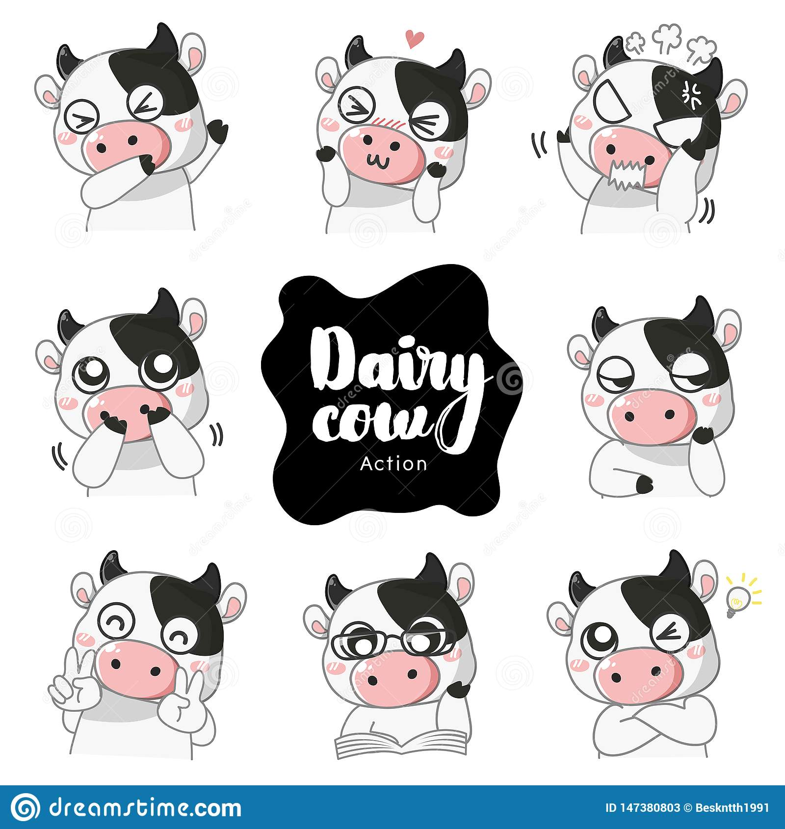 Many mascot emotion cute Dairy cow.