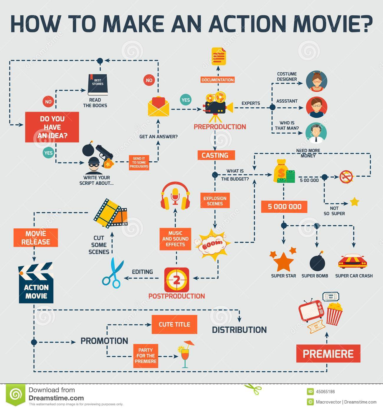 Action movie infographic stock vector. Image of arrows ...