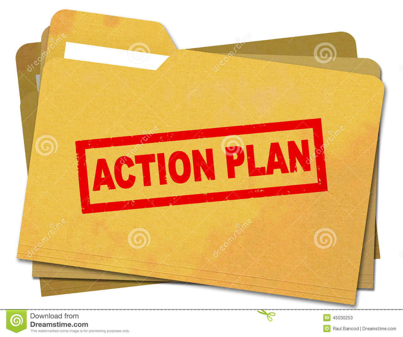 Action plan stamped on stained file folder stock photo for Folder action