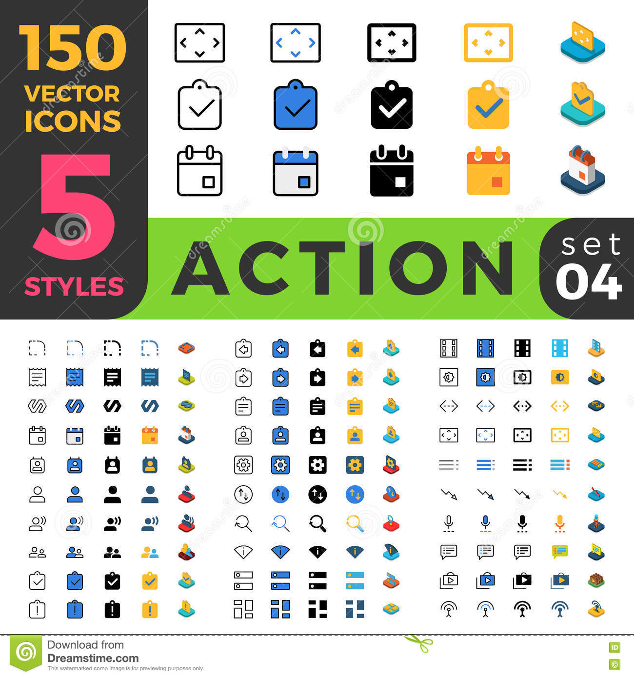 Action Settings 150 Line Flat Isometric Mobile Web Stock