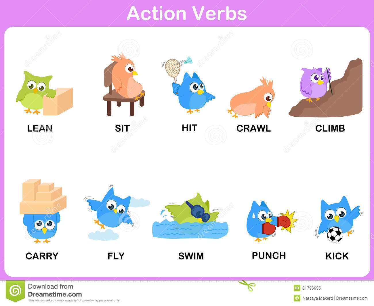 Action Verbs Picture Dictionary (Activity) For Kids Stock Vector ...