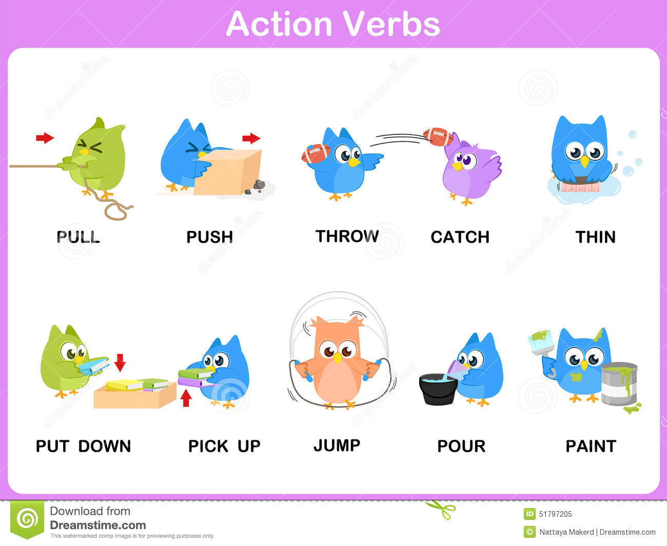 action verbs picture dictionary activity for kids stock vector action verbs picture dictionary activity for kids