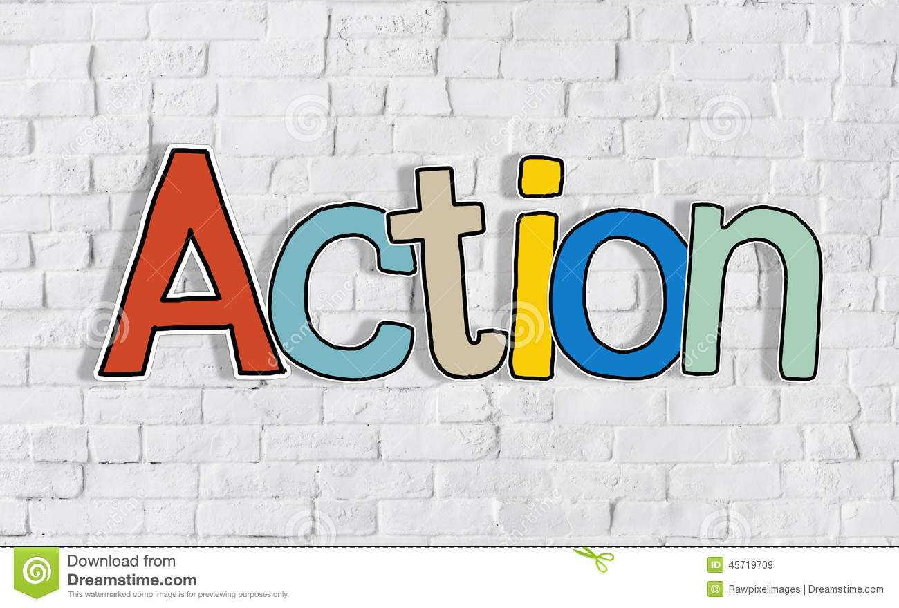 action word and brick wall in background stock photo image 45719709 action word and brick wall in background