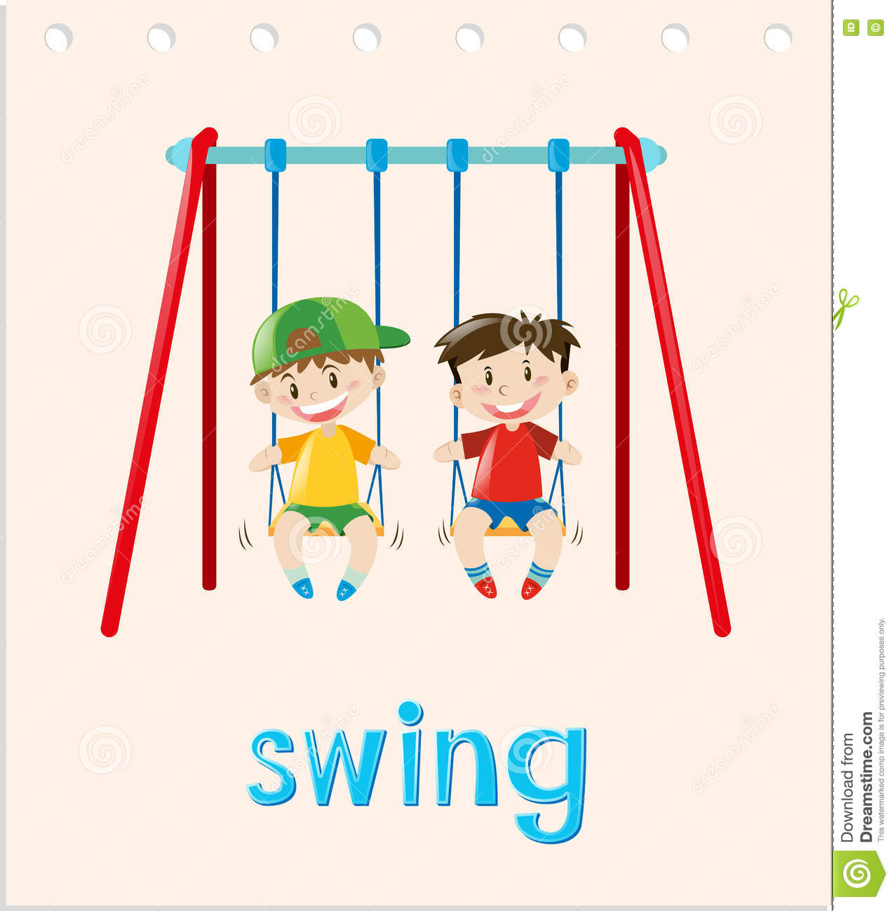 action word card two boys on swing stock vector image 79891448 action word card two boys on swing