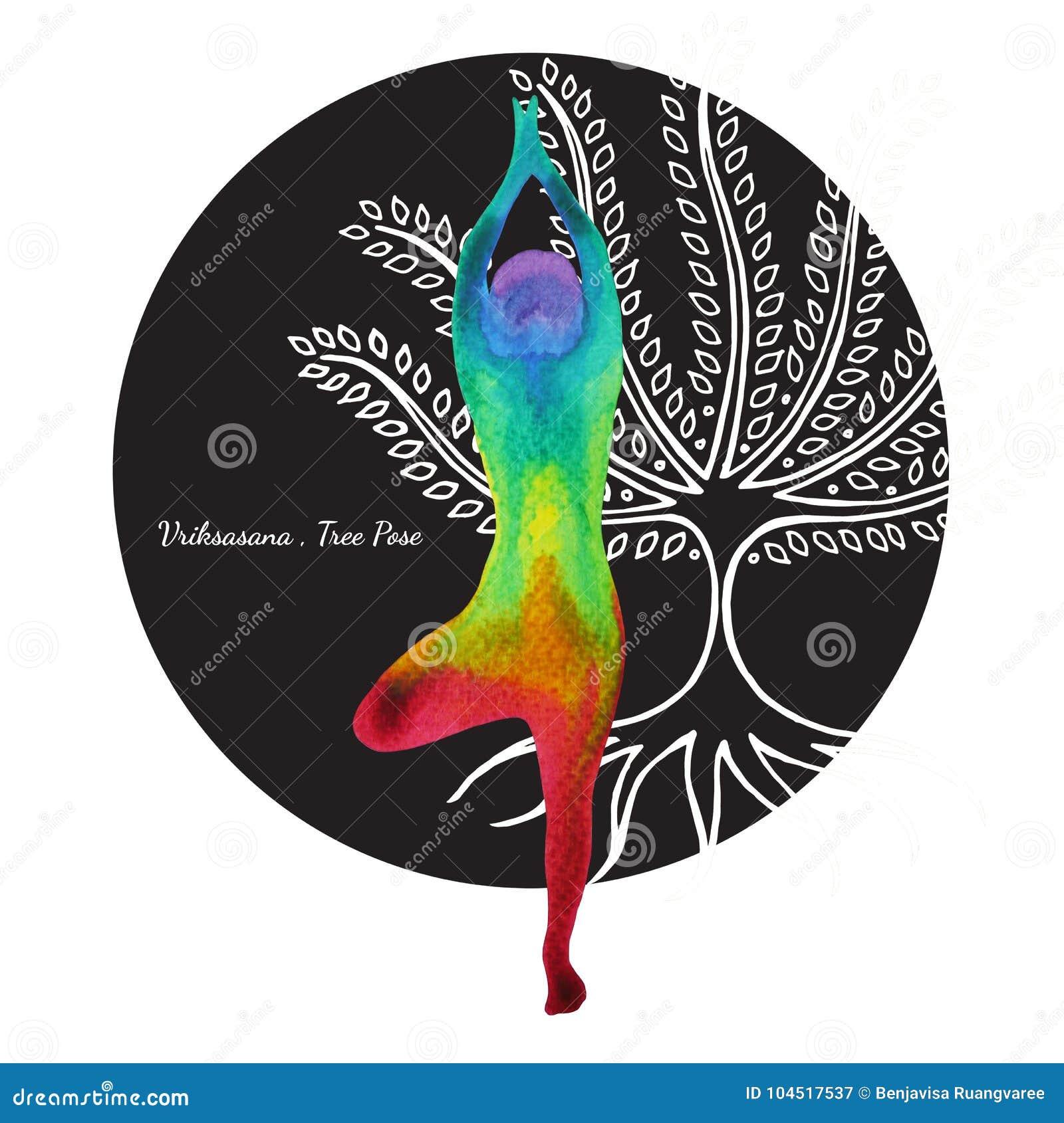 Actitud Del árbol Dibujo De La Mano De La Pintura De La Acuarela