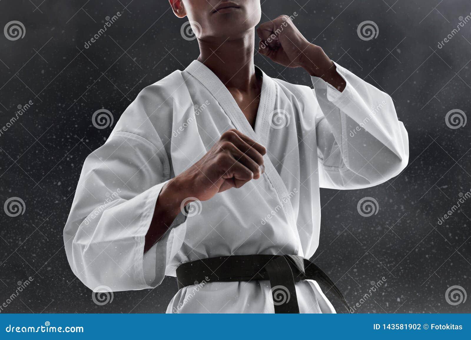 Actitud que lucha del combatiente del arte marcial