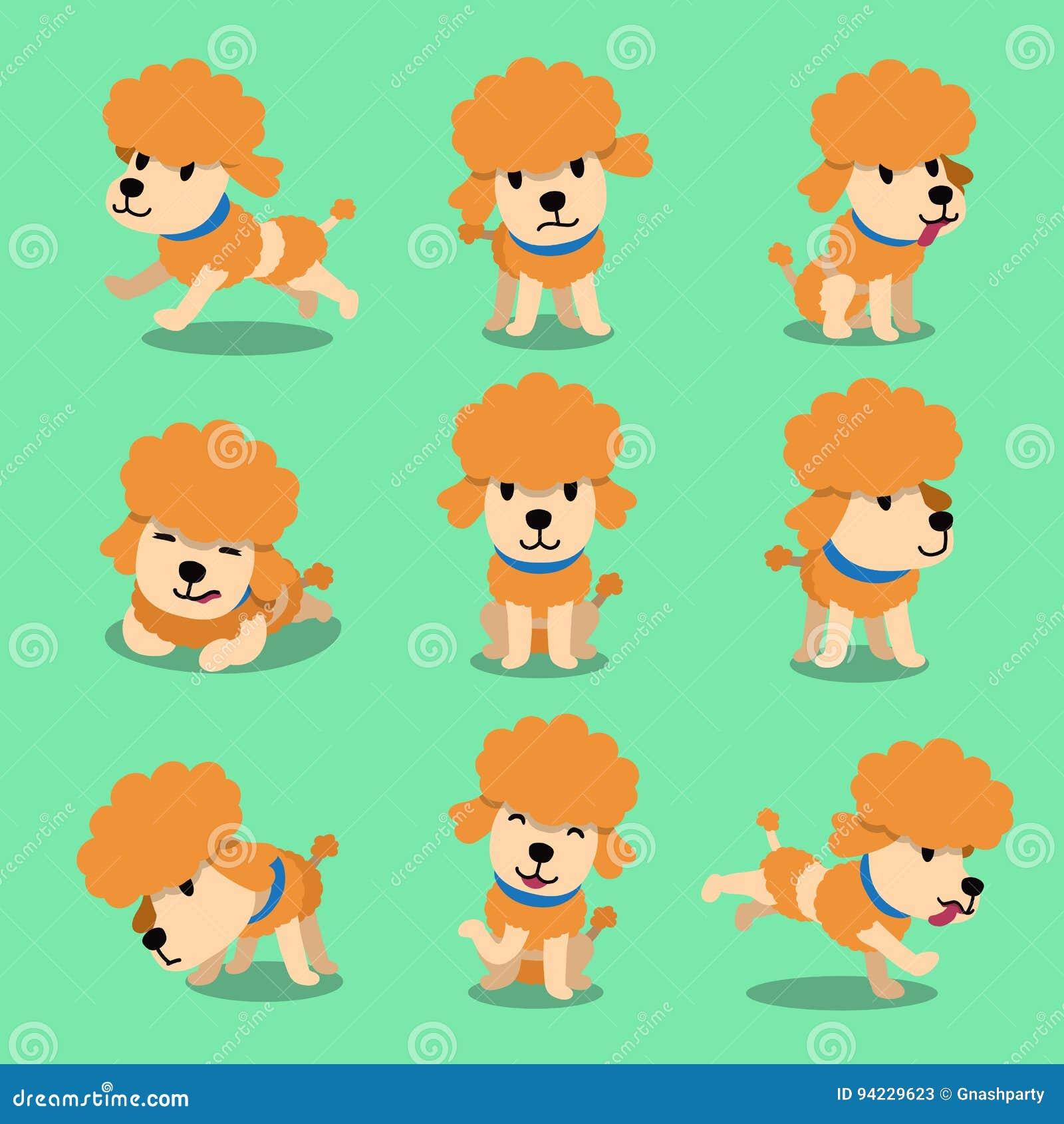 Actitudes Del Perro De Caniche Del Personaje De Dibujos Animados