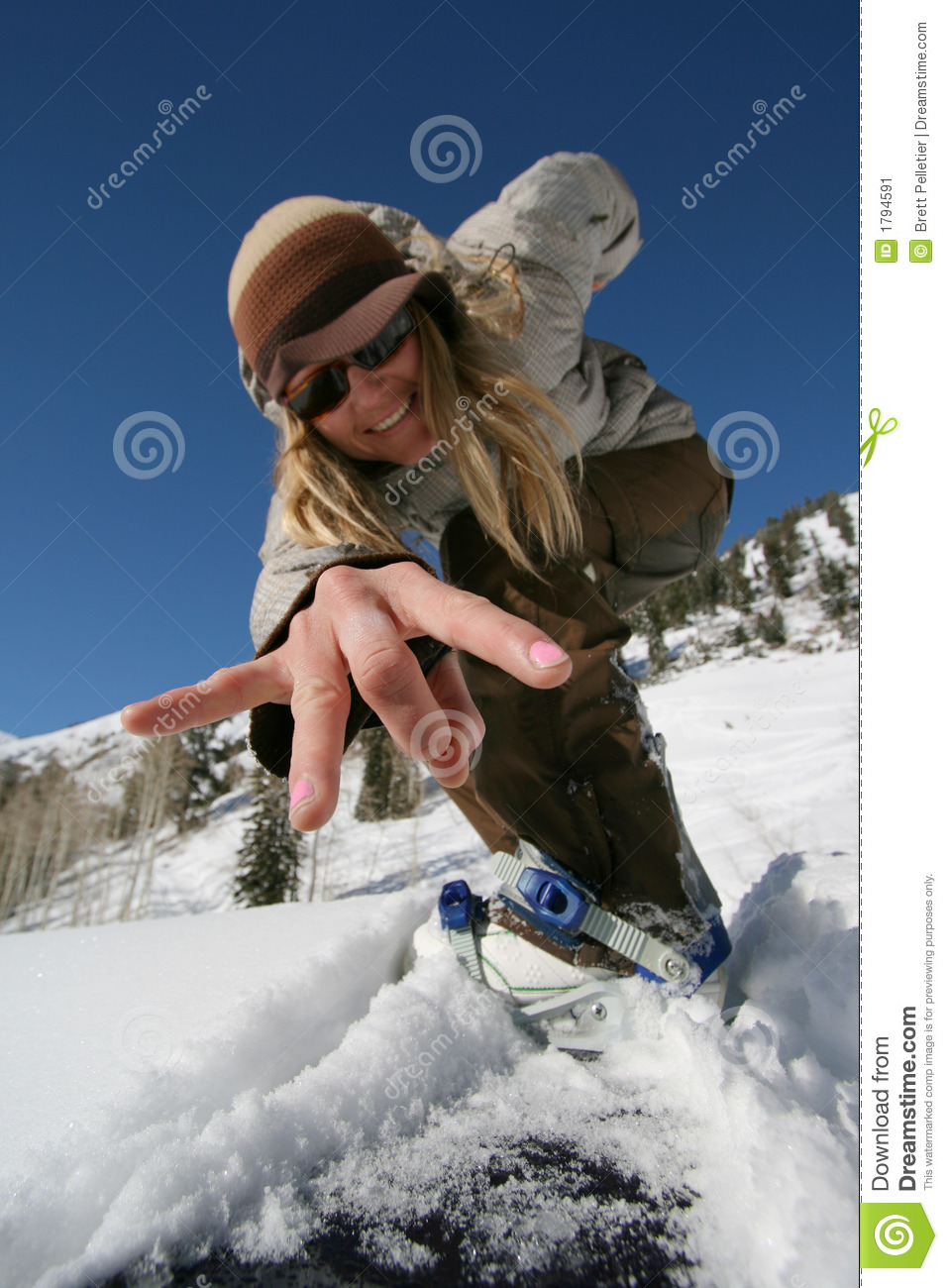 Active Beautiful Girl With A Snowboard Stock Image Image