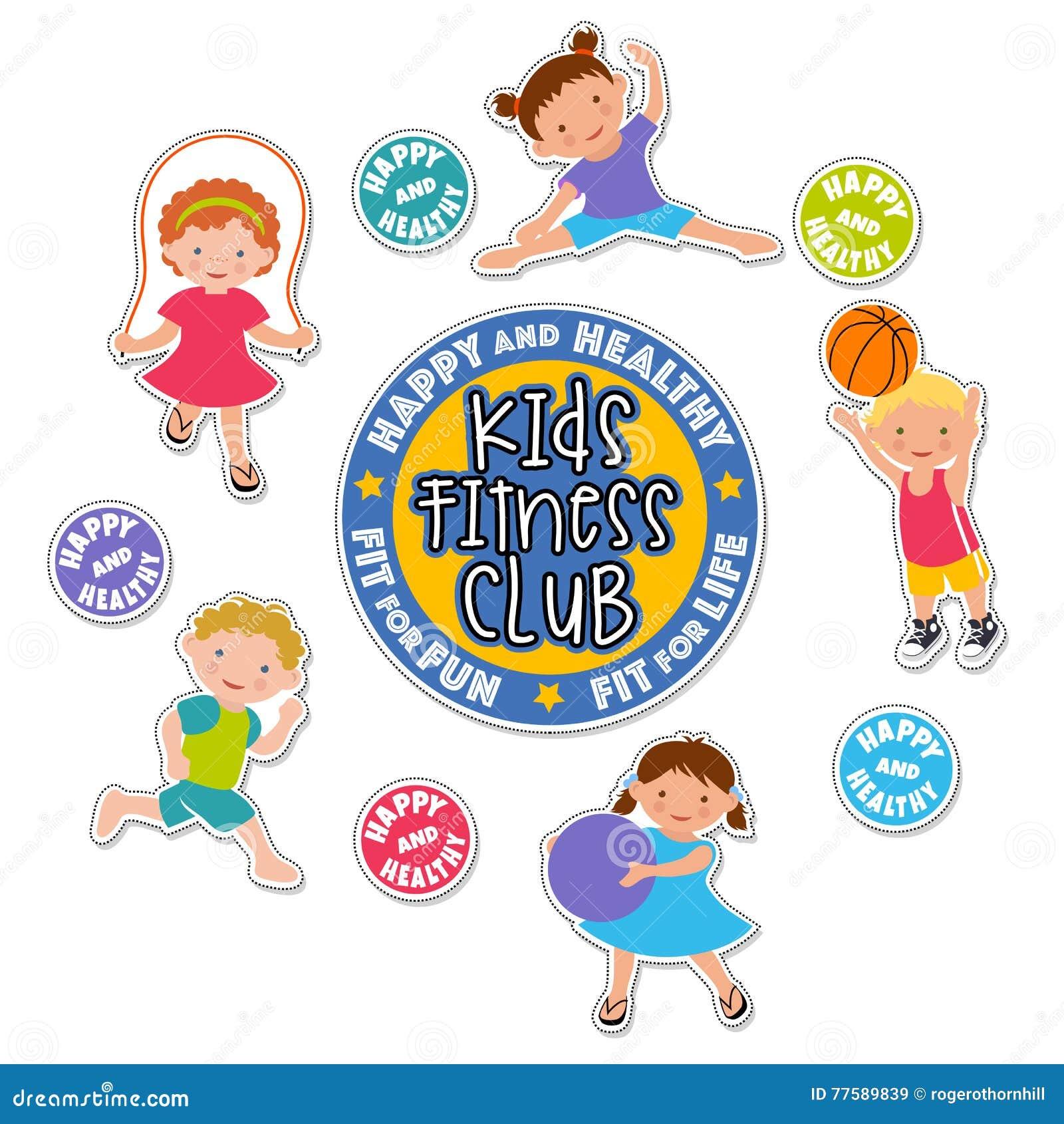 Active children playing sports sticker set