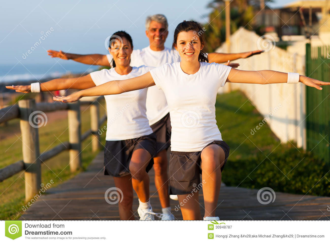 Active family exercising