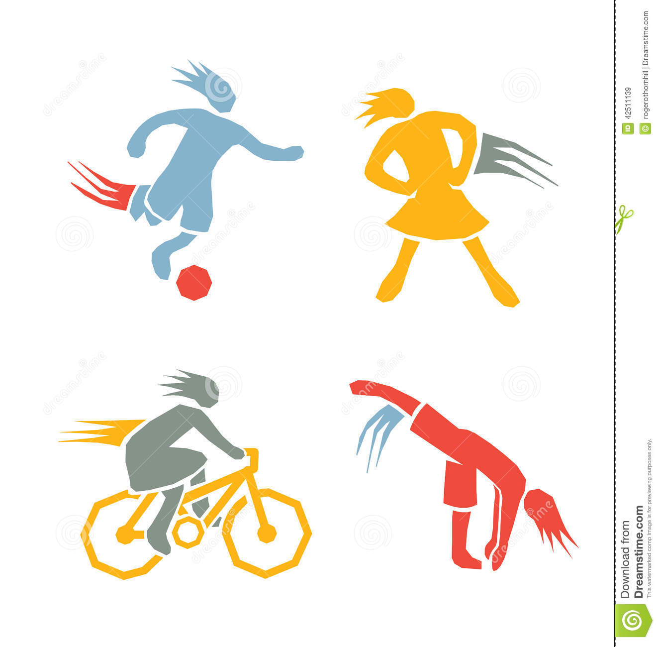 Active Girls Fitness Sports Set 2 Stock Vector - Image ...