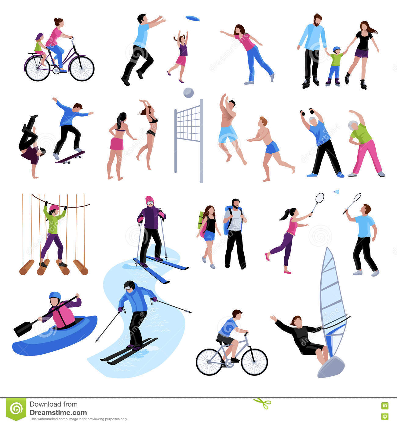 active leisure people icons set stock vector image 79542898 golf clipart borders gopher clipart