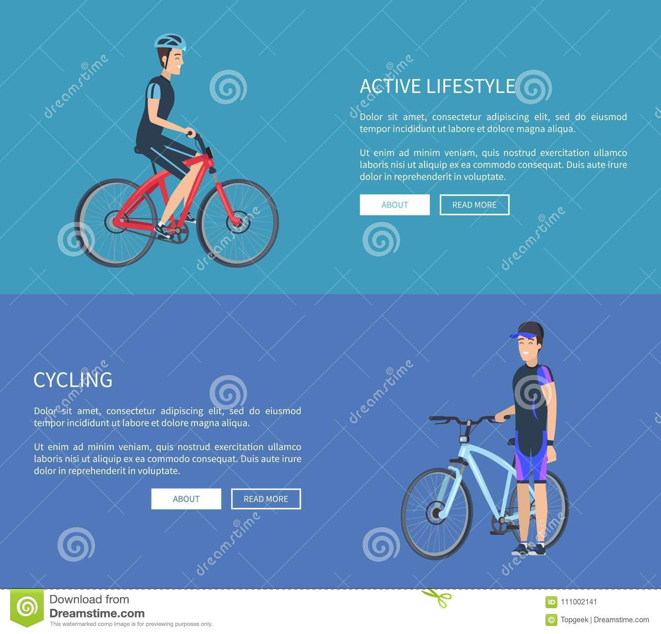 Active Lifestyle Cycling Web Vector Illustration