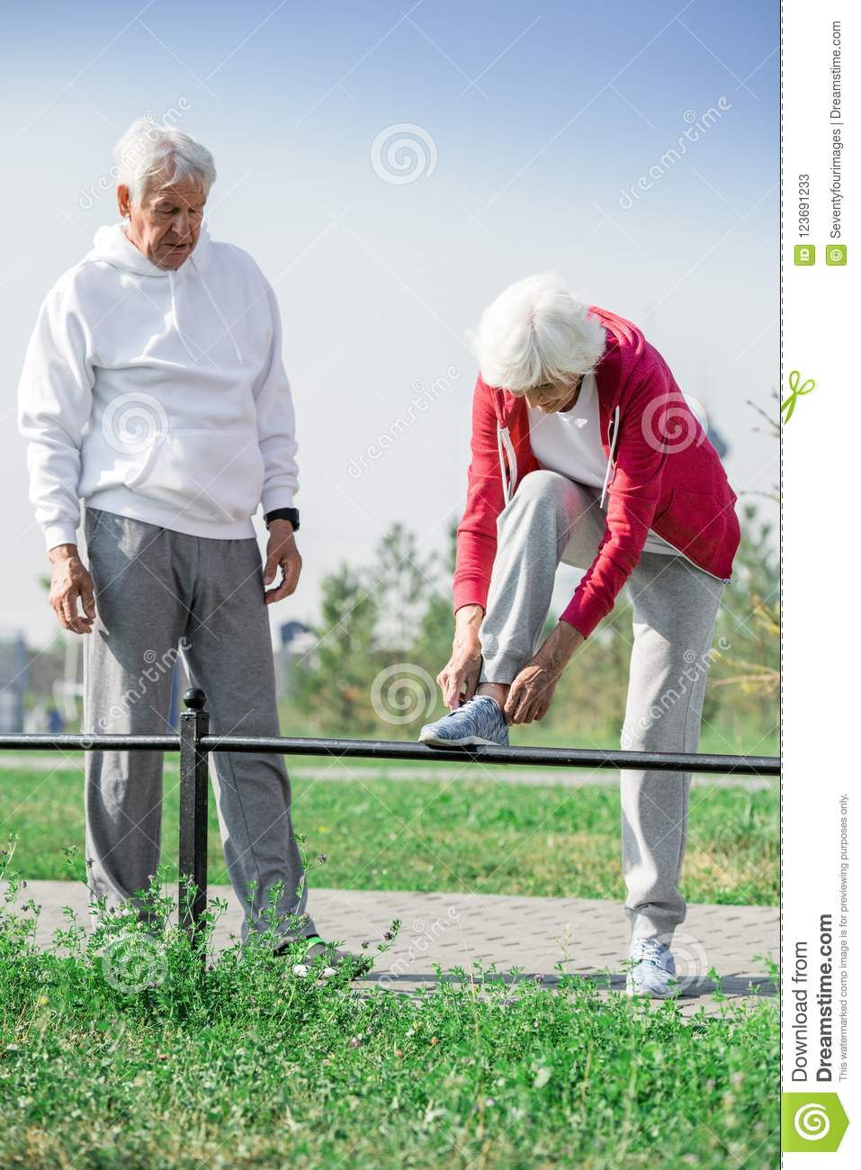 Active Mature Couple Outdoors Stock Image - Image of aging