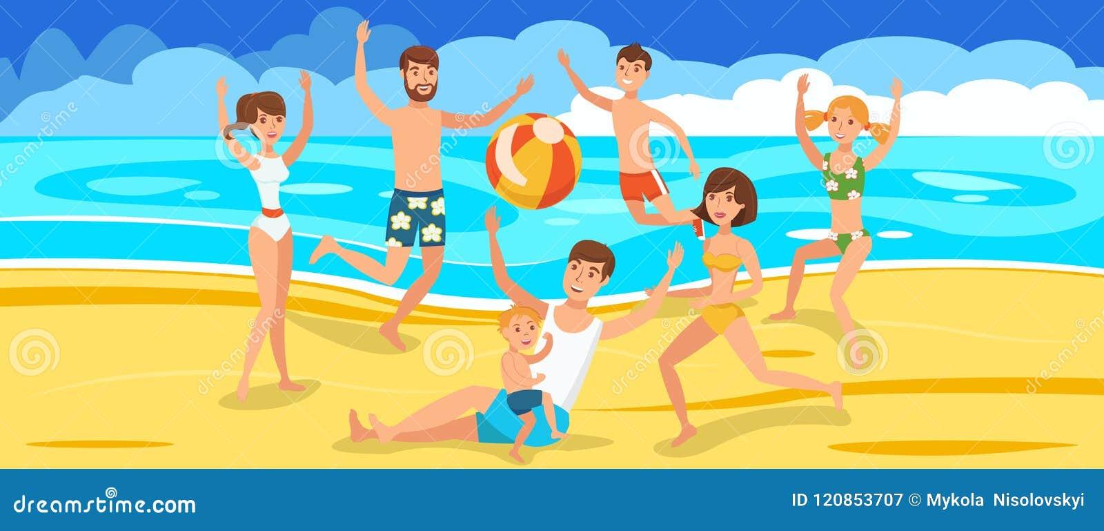 Kids Playing On The Beach Cartoon Vector Cartoondealer