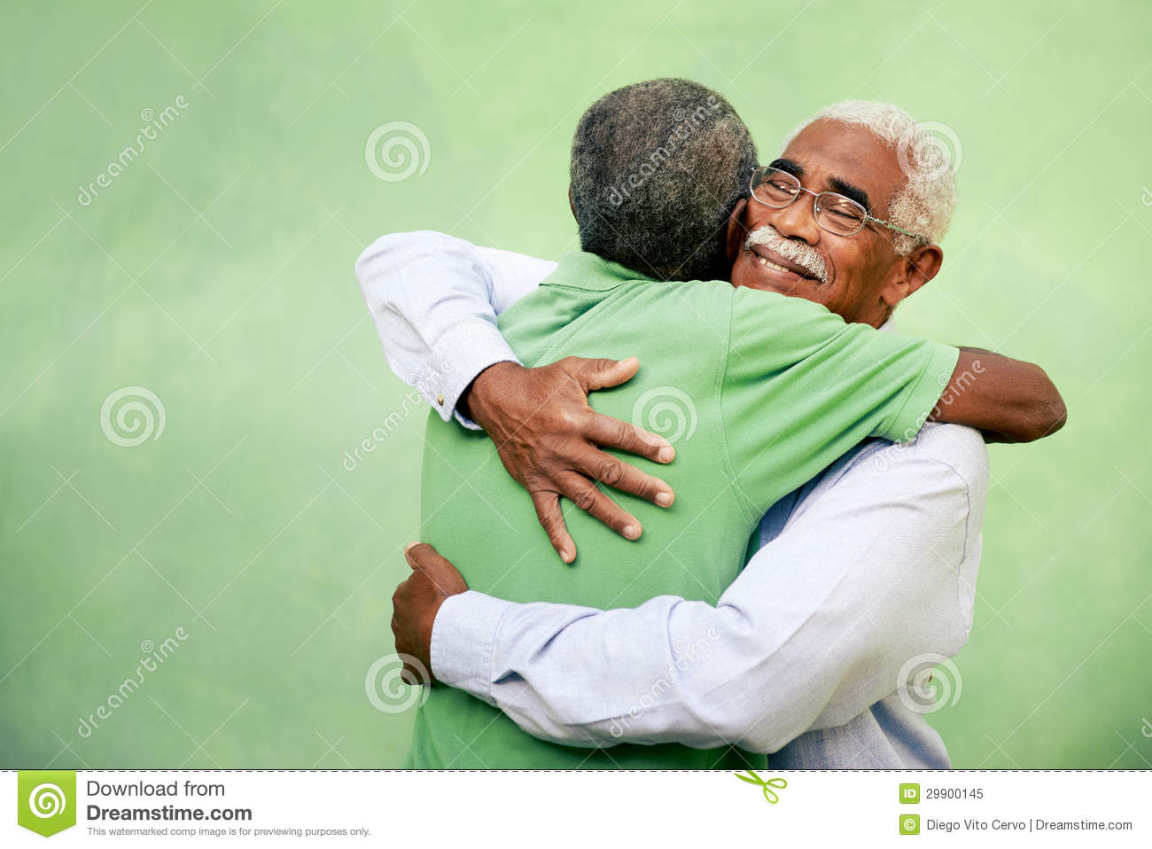 Old Friends, Two Senior African American Men Meeting And ...