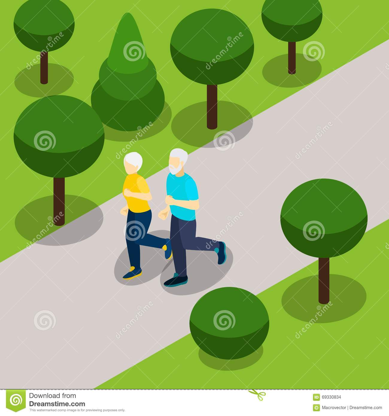 Isometric Exercises For Seniors: Active Retirement Lifestyle Isometric Banner Stock Vector