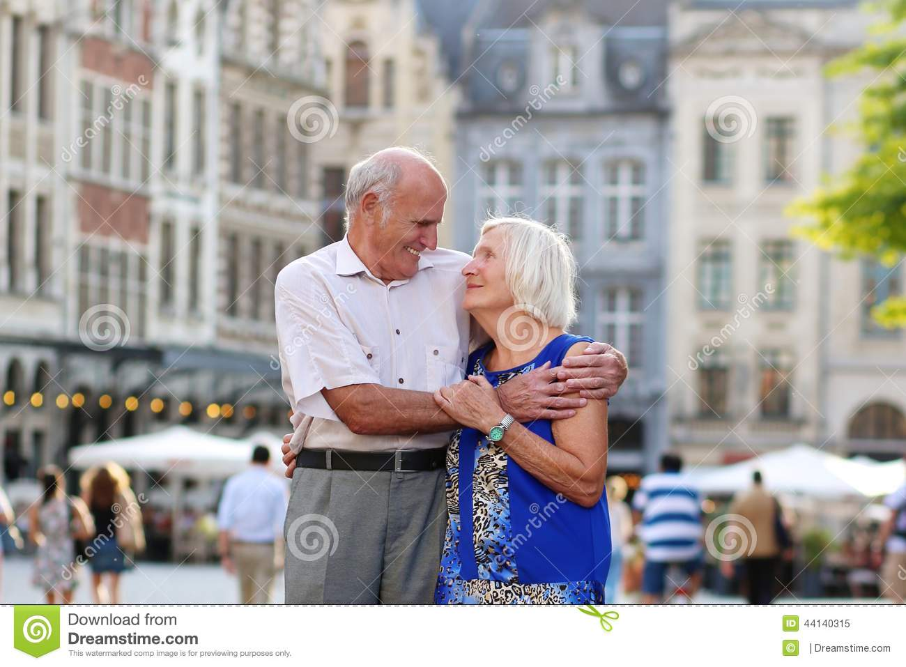 Active senior couple traveling in Europe