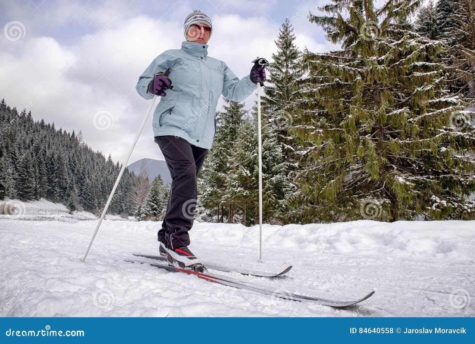 Active senior. Cross-country skiing