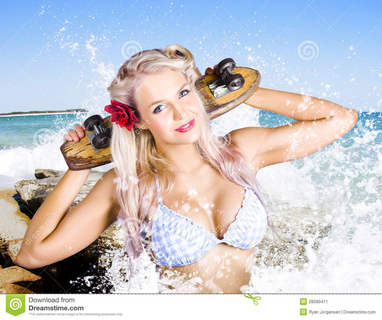 Active Summer Beach Babe With Skateboard Stock Image -3462