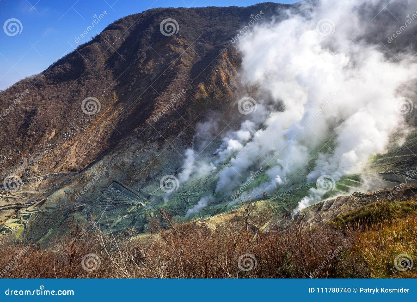 Active sulphur vents of Owakudani at Fuji volcano