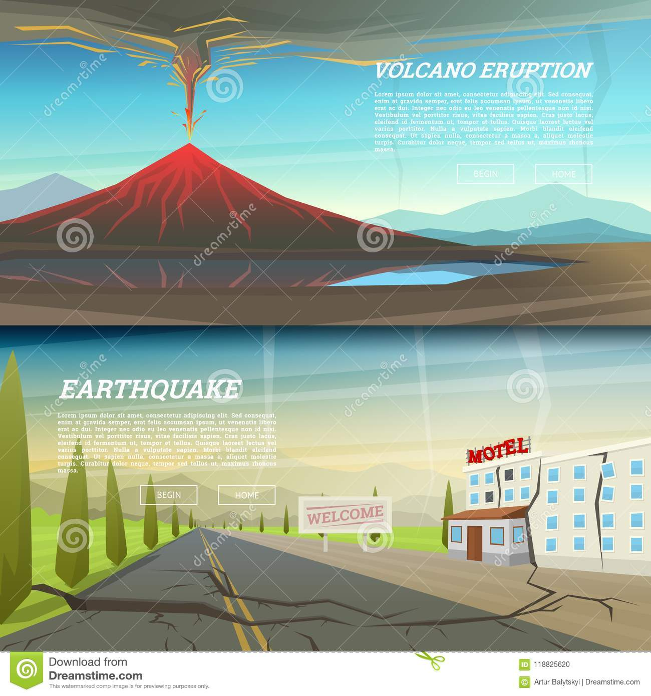 Active volcano eruption with leaky magma background natural disaster or cataclysm earthquake with ground