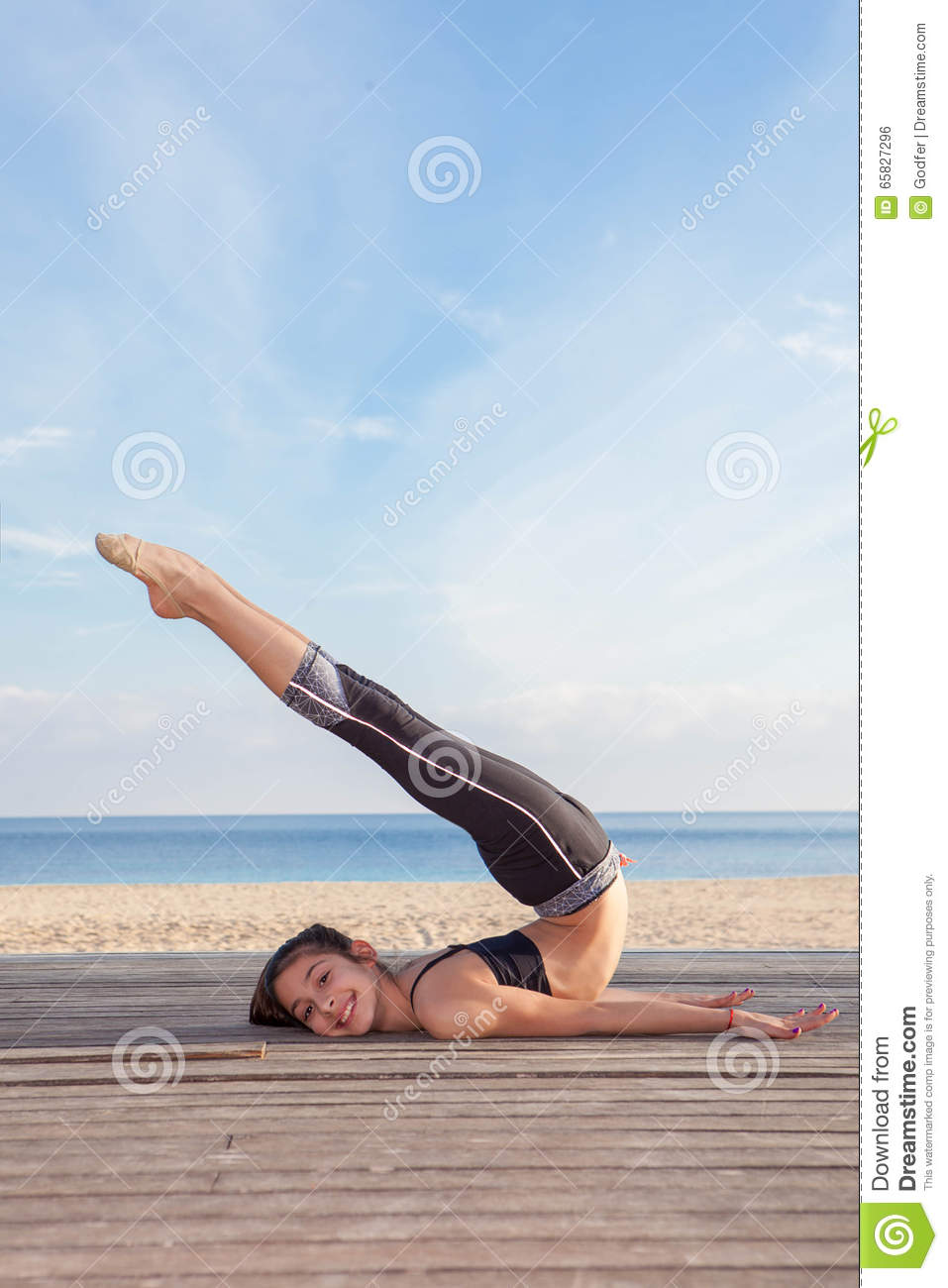 Active young girl gymnast