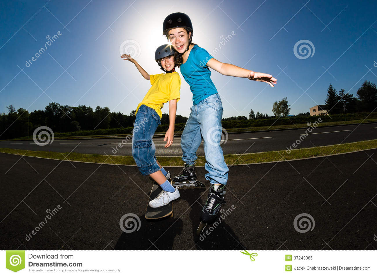 Agile Young Girl Roller Skating Stock Photo - Image of