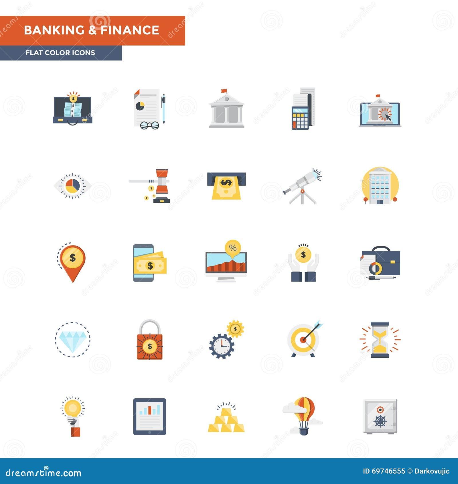 Actividad bancaria y finanzas planas de los iconos del color
