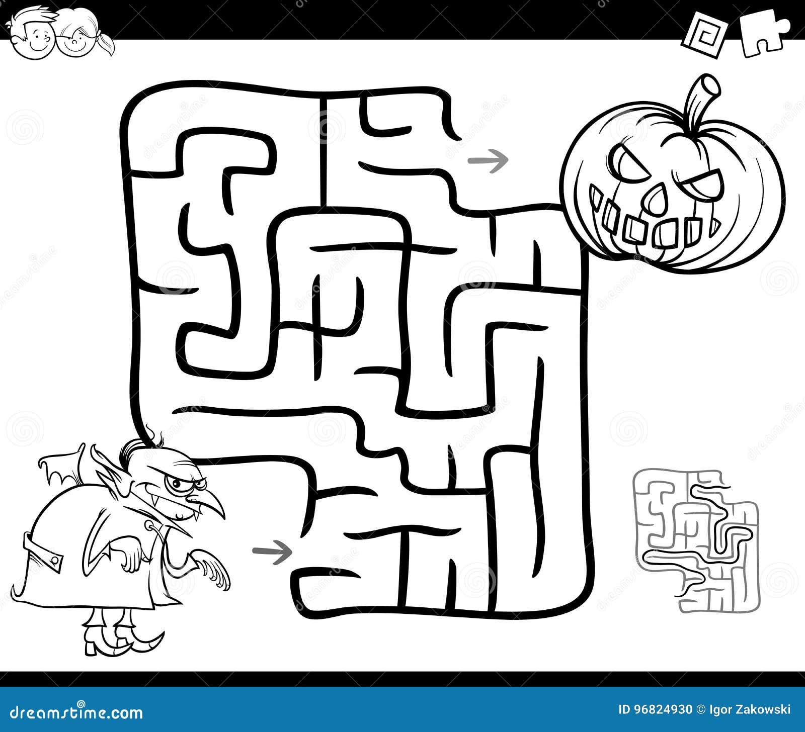 Actividad Del Laberinto De Halloween Para Colorear Ilustración del ...