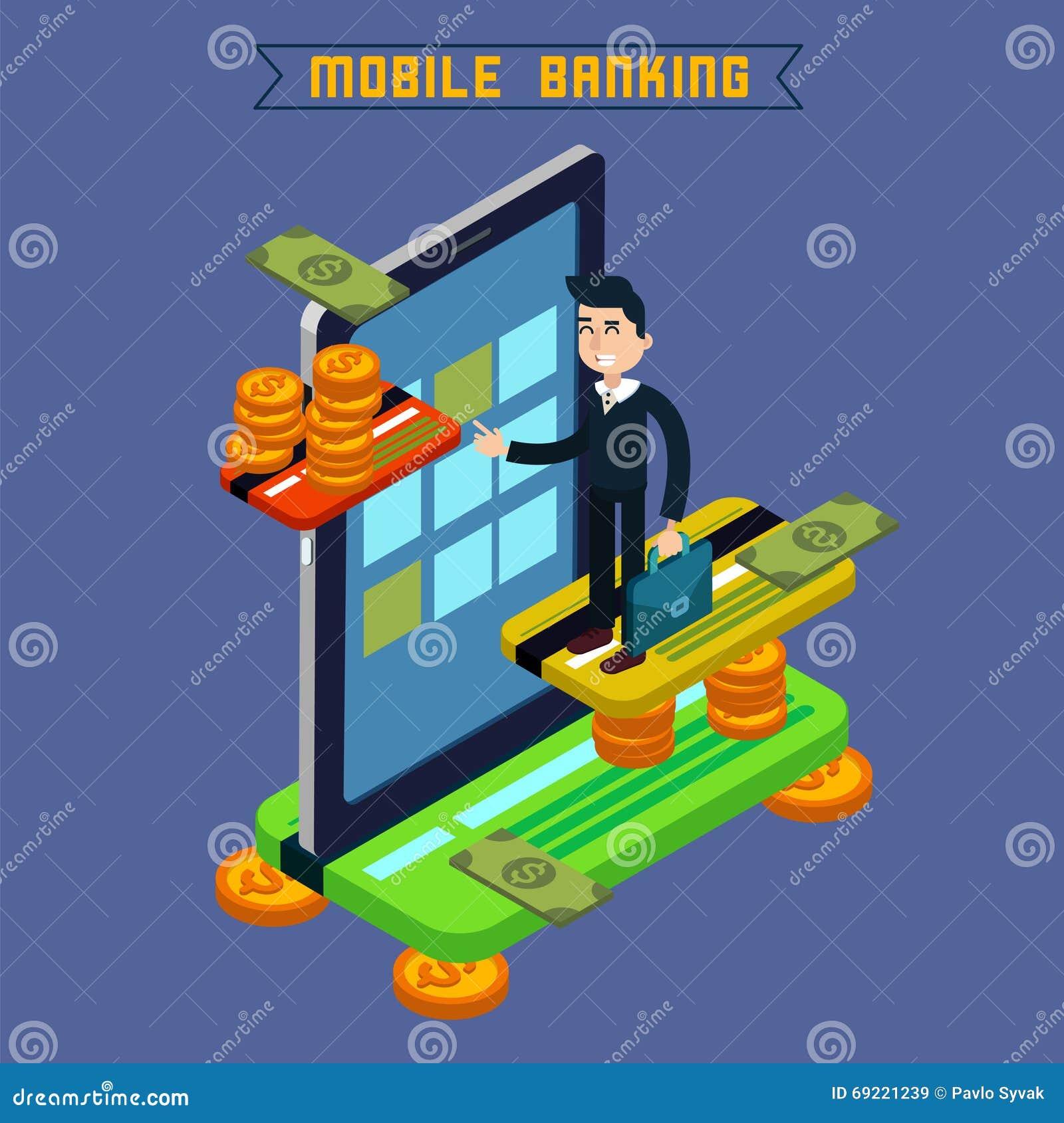 Actividades bancarias móviles Concepto isométrico Pago en línea Pago móvil
