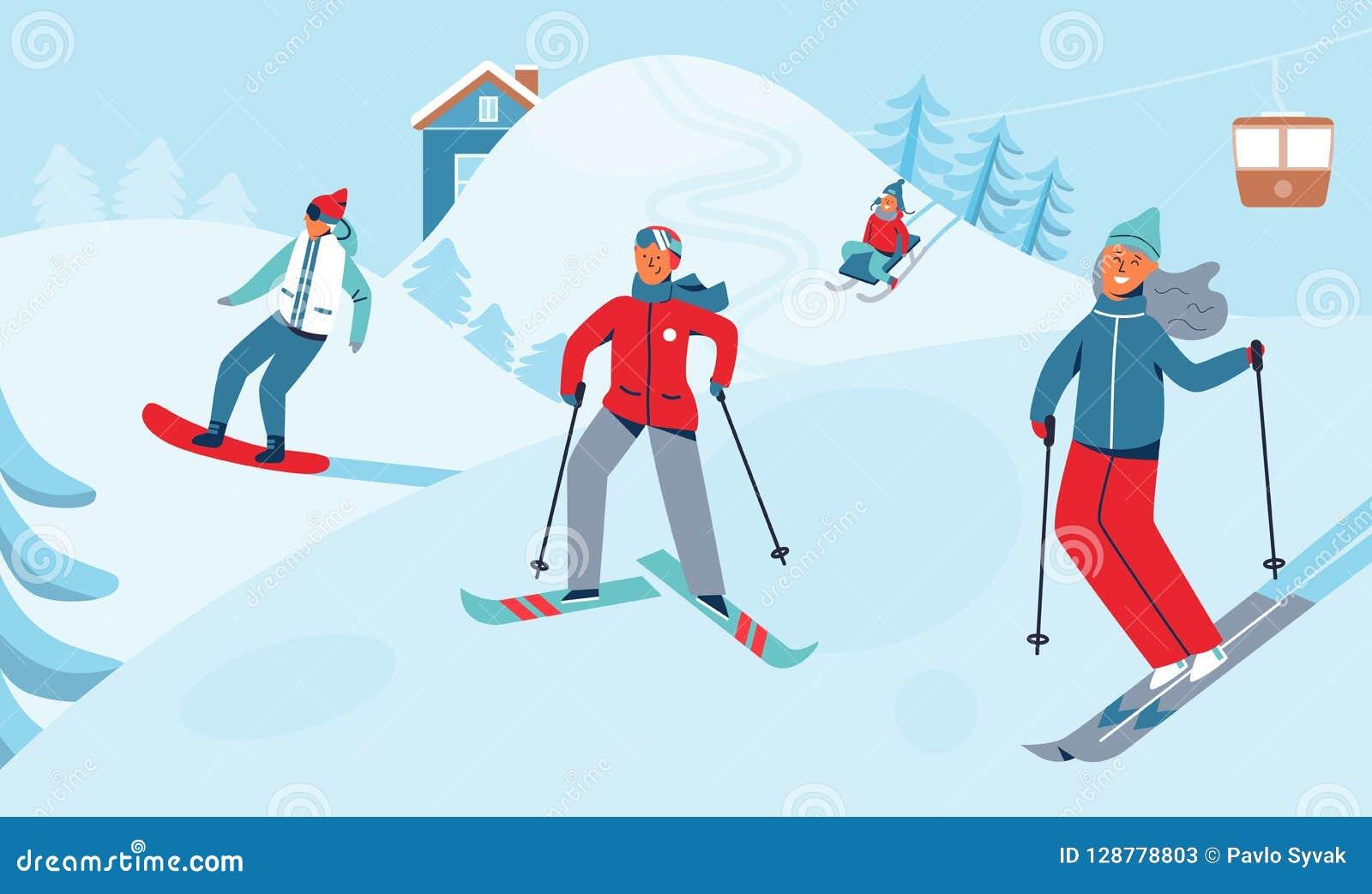 Activité de sport de récréation de vacances d hiver Ski Resort Landscape avec des caractères skiant et faisant du surf des neiges