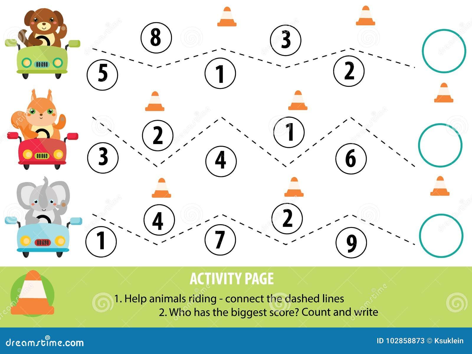 Activiteitenpagina voor kinderen Handschriftpraktijk en wiskunde