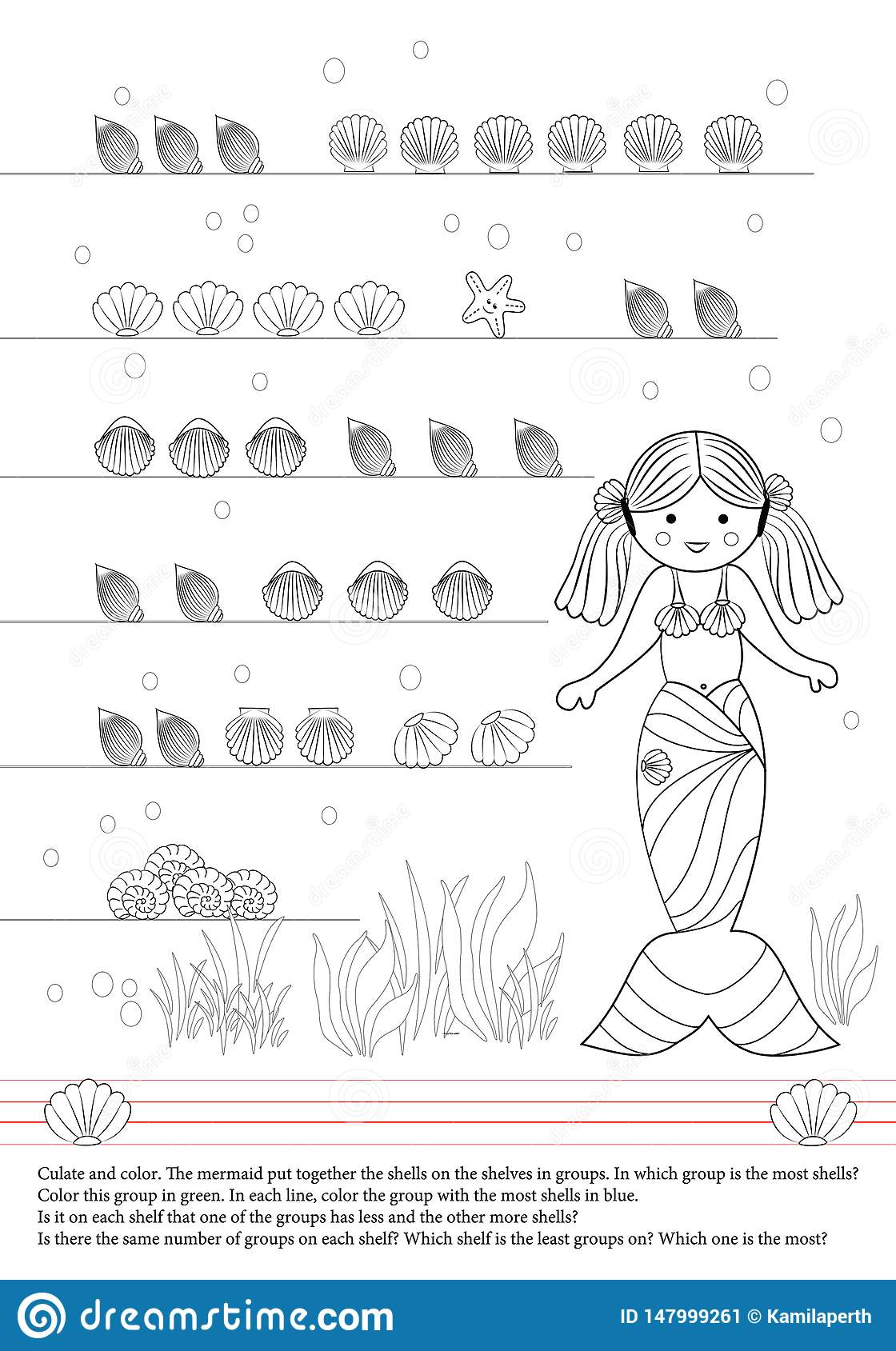 Activities book for children. Mermaid. Shells. Group. Draw.