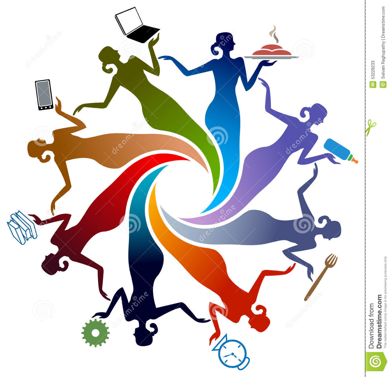 Activities of women stock vector. Image of connection ...