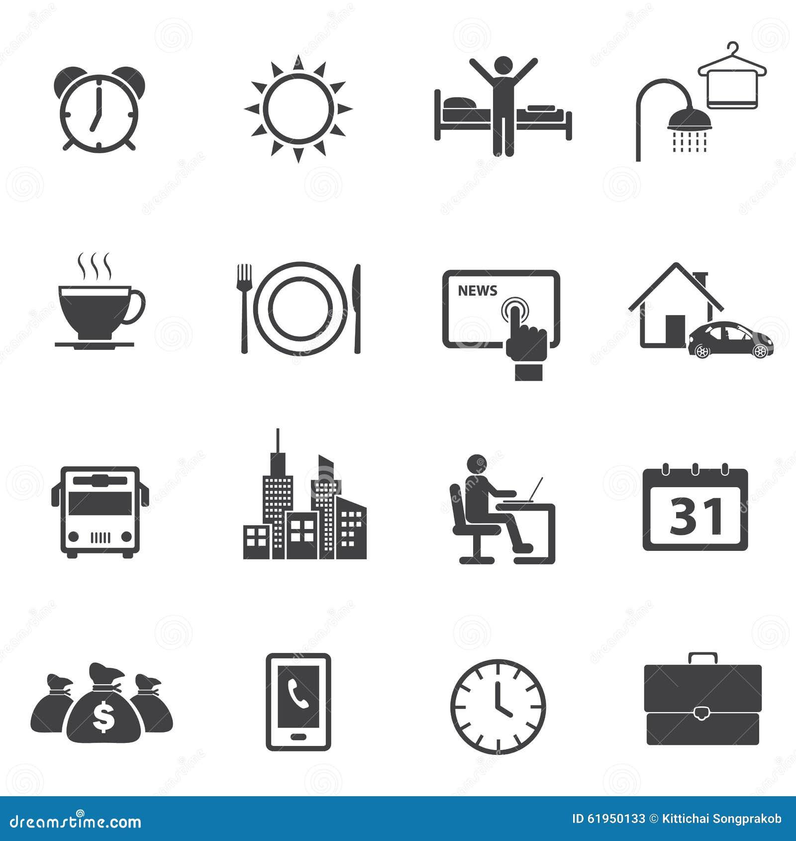 Activity Daily Routine Icons Set Stock Photo Image 61950133