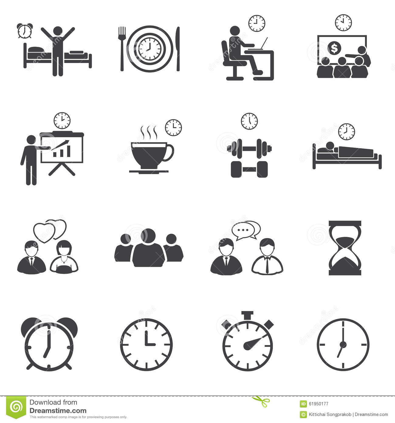 activity daily routine icons set stock photo image 61950177. Black Bedroom Furniture Sets. Home Design Ideas