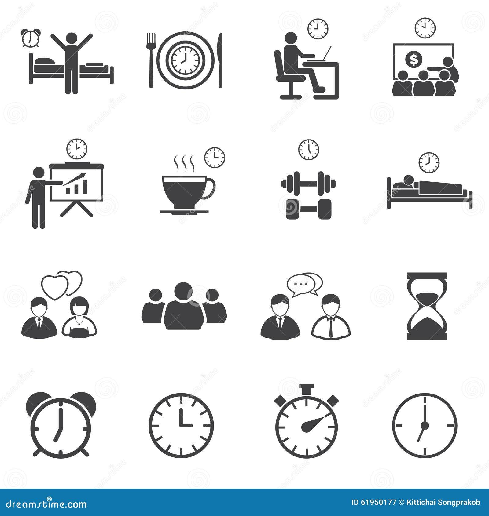 Activity Daily Routine Icons Set Stock Photo Image 61950177