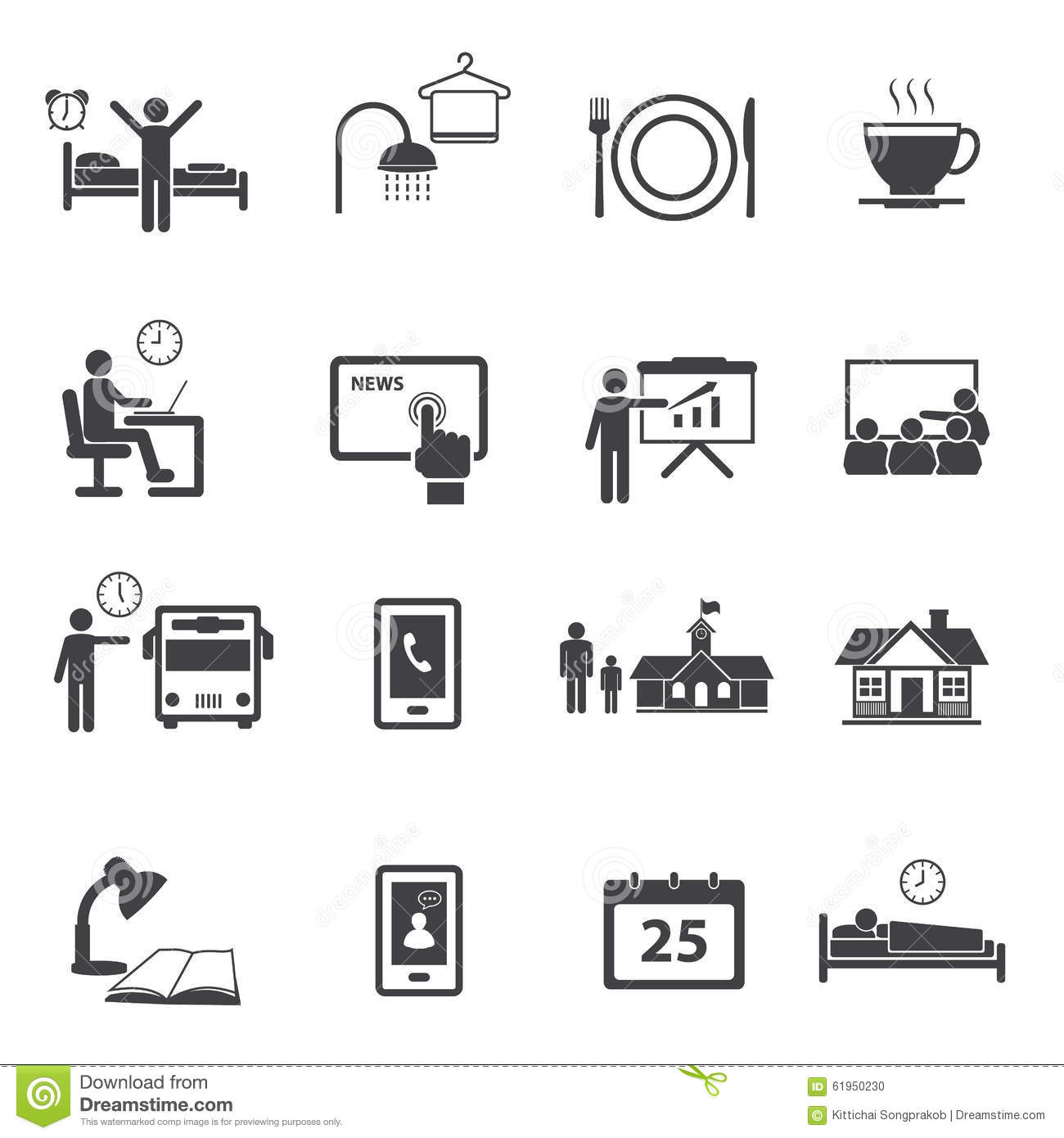 Activity Daily Routine Icons Set Stock Photo - Image: 61950230