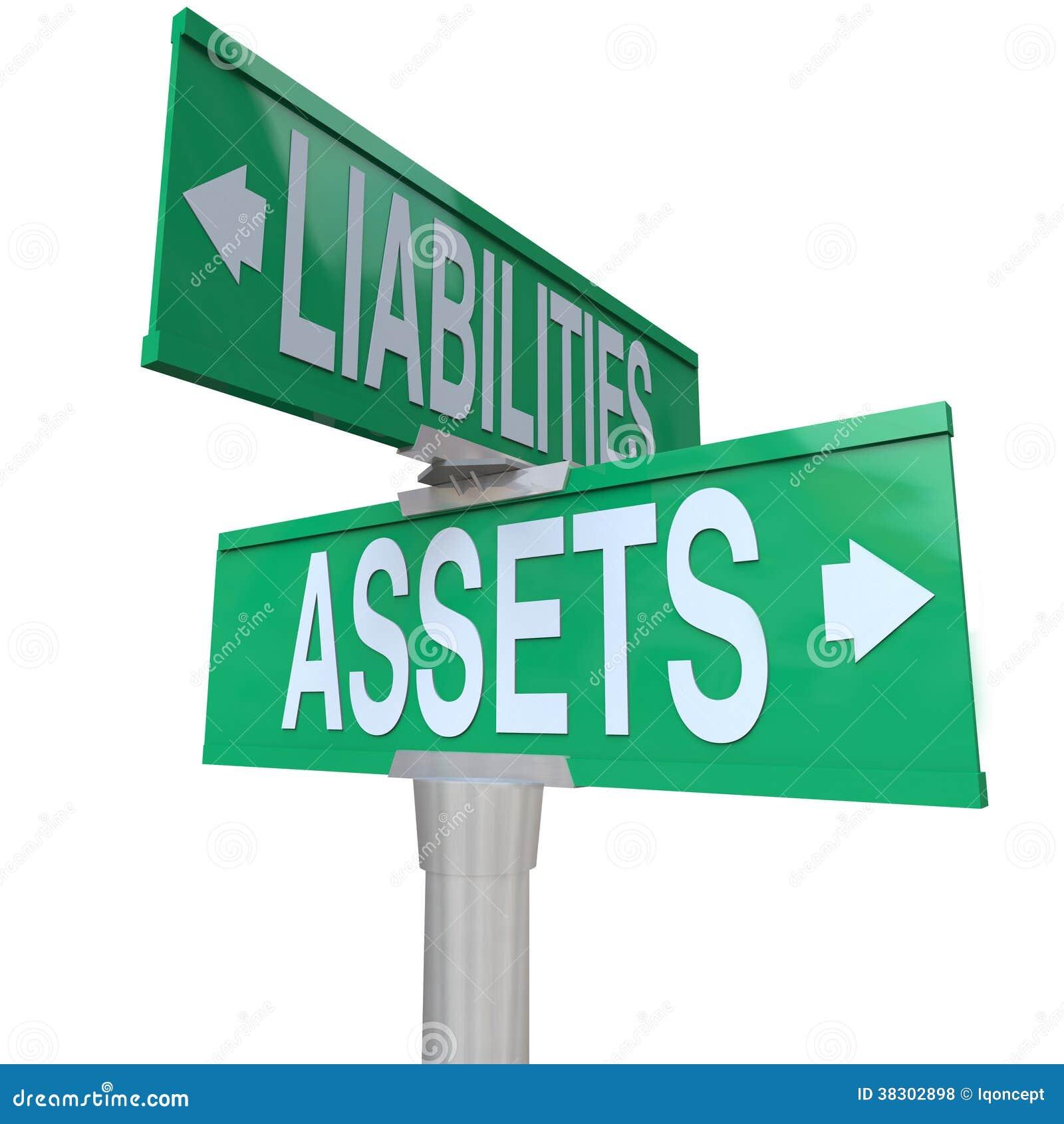 Activos contra considerar bidireccional de las placas de calle del camino de las responsabilidades