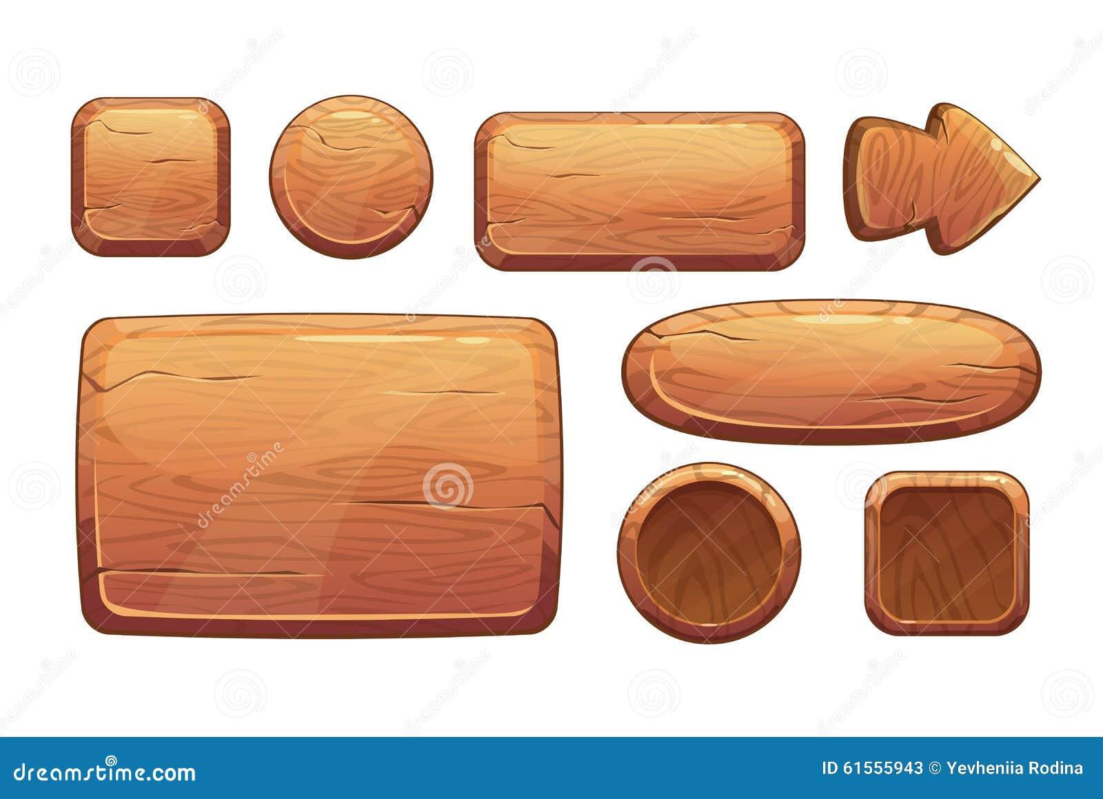Activos de madera del juego de la historieta