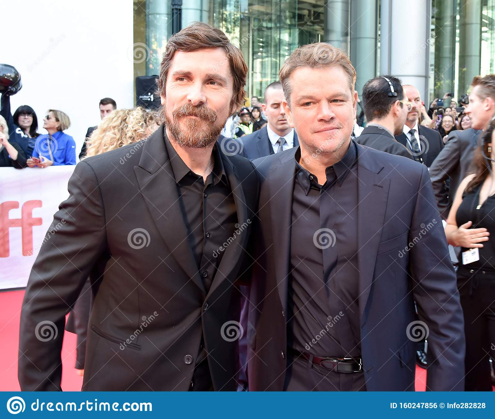 Actor Christian Bale And Matt Damon At Movie Premiere Of Ford V Ferrari At Toronto International Film Festival 2019 Editorial Photo Image Of Film Producers 160247856