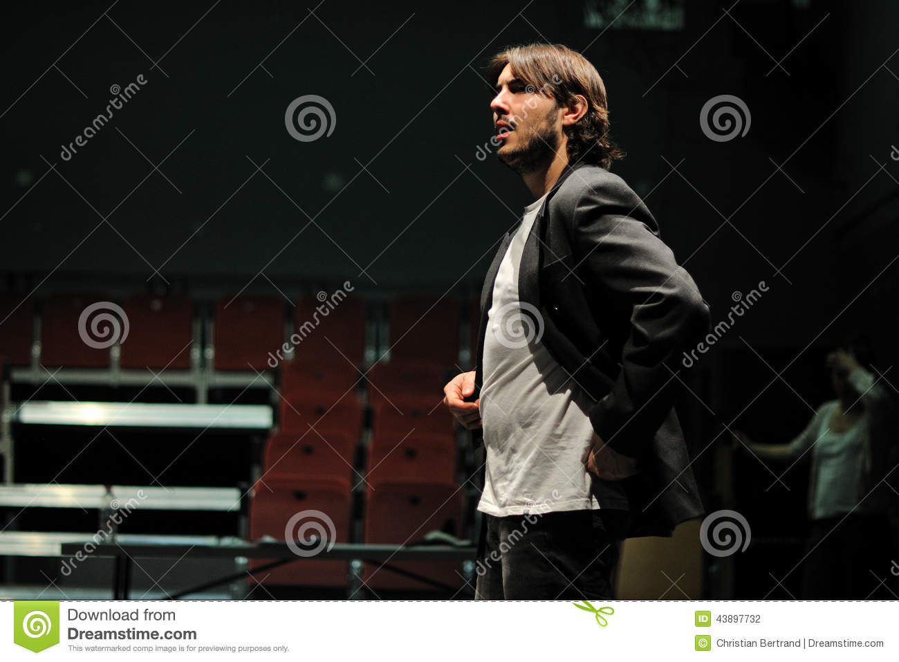 Actors dressed in executive of the Barcelona Theater Institute, play in the comedy Shakespeare For Executives