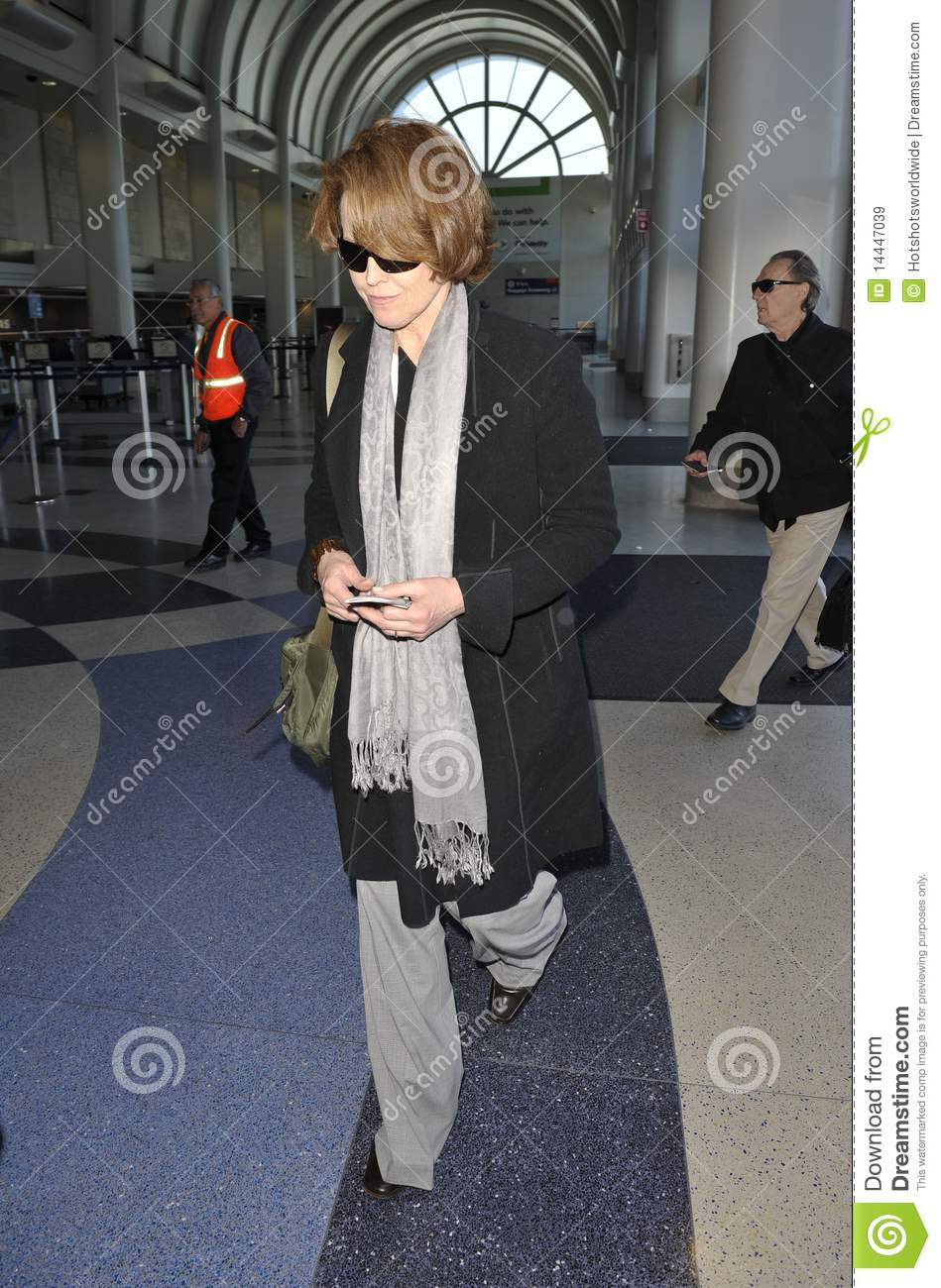 Actress Sigourney Weaver at LAX