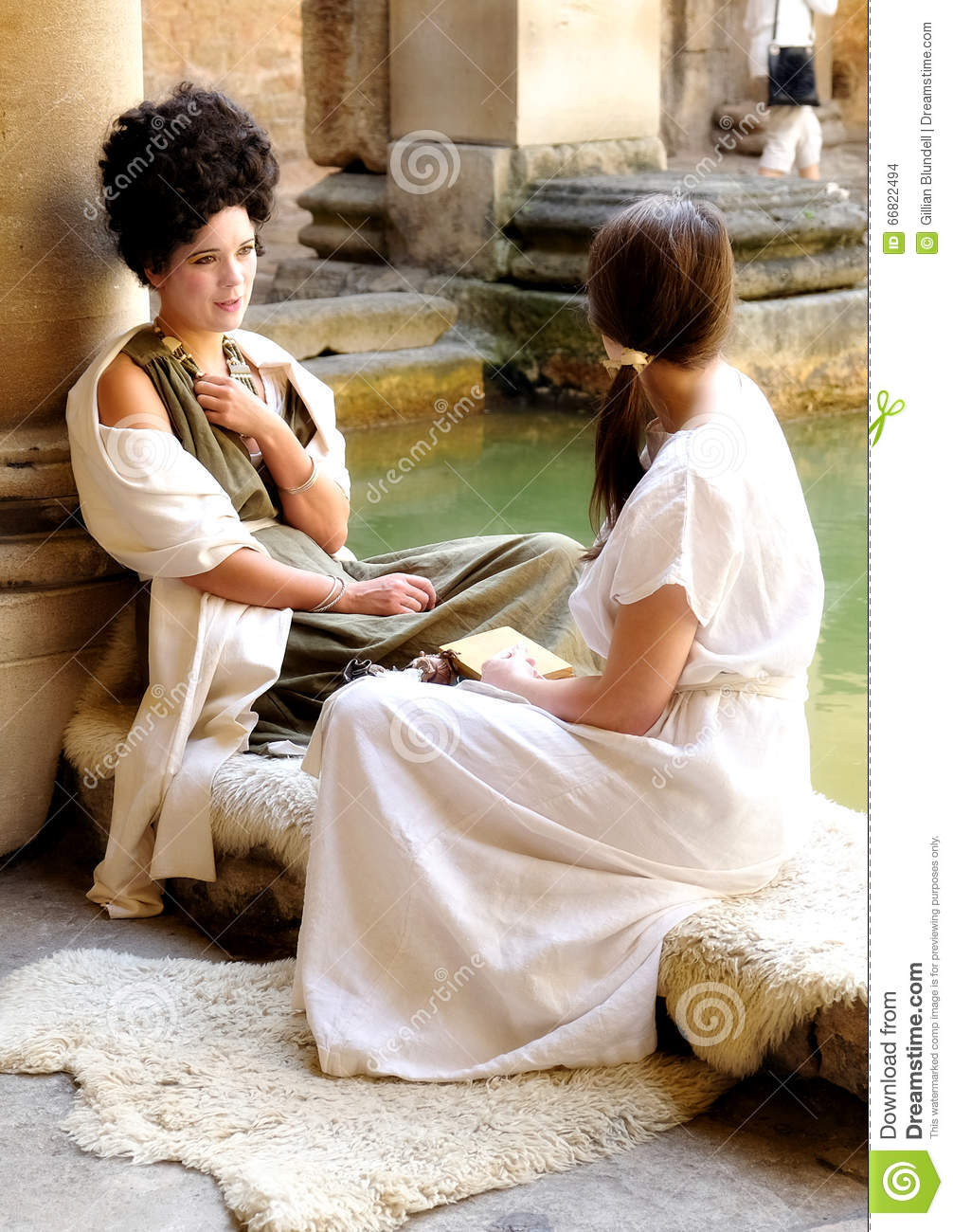 Actresses in costume at Roman Baths, Bath, England