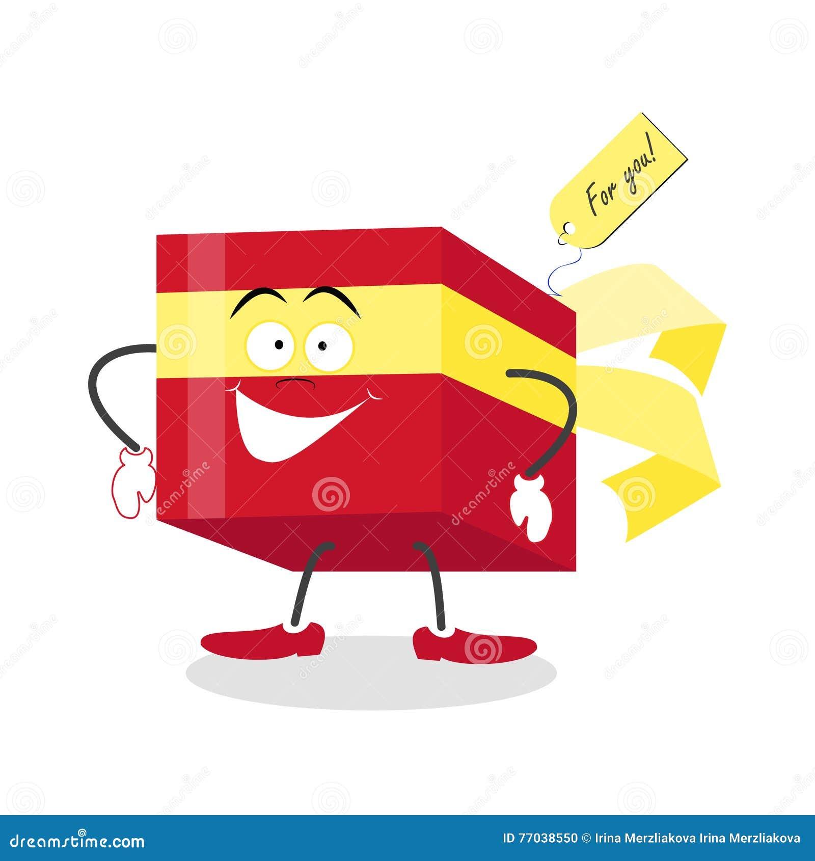 Actual Caja De Regalo Roja Del Cubo Del Regalo Saludos Del Personaje