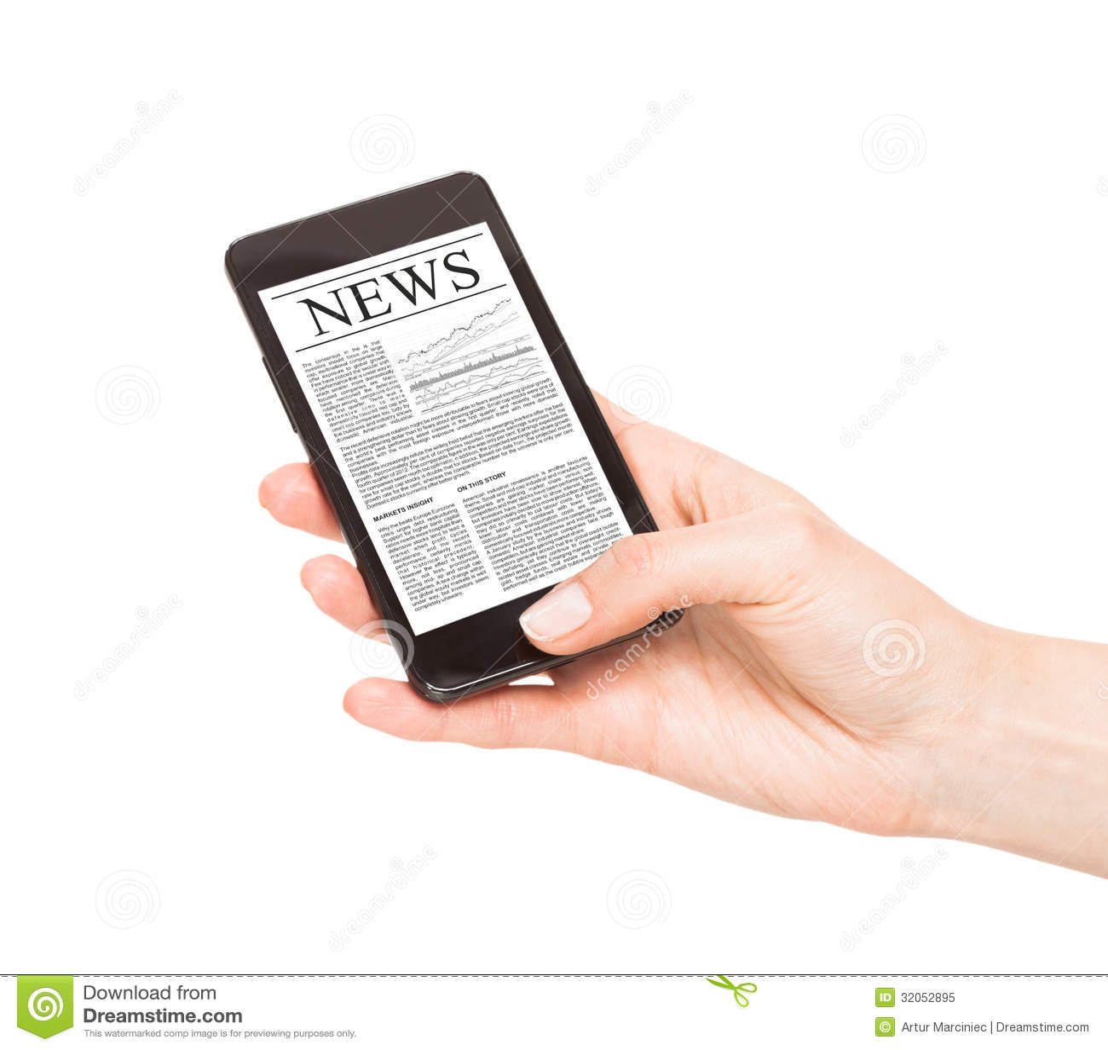 Actualités au téléphone portable, téléphone intelligent.